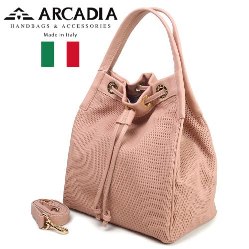 レディースバッグ イタリア製 牛革 2WAYハンドバッグ ARCADIA アルカディア Art.2784 CONFETTO ピンクベージュ