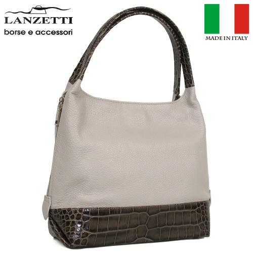 レディースバッグ イタリア製 牛革 サイドファスナー付き 型押し ハンドバッグ LANZETTI/ランゼッティ Art.3196 グレー