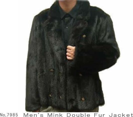 メンズ 毛皮ジャケット ミンクファーダブルジャケット7985 紳士毛皮 ミンクジャケット ファージャケット