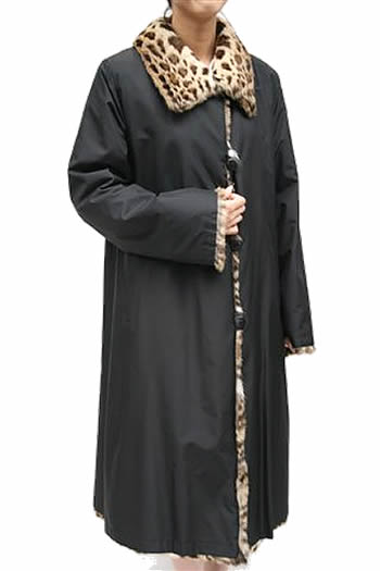 レディース 毛皮コート レオパード&シルク リバーシブル ロング ファーコート 7659 婦人毛皮 ロングコート レオパードコート