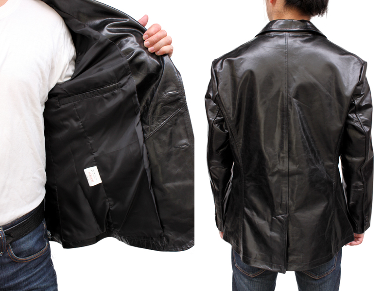 8bcacecee (Large size ) Buffalo 2 button tailored Leather jacket (#3643) (color:Black)