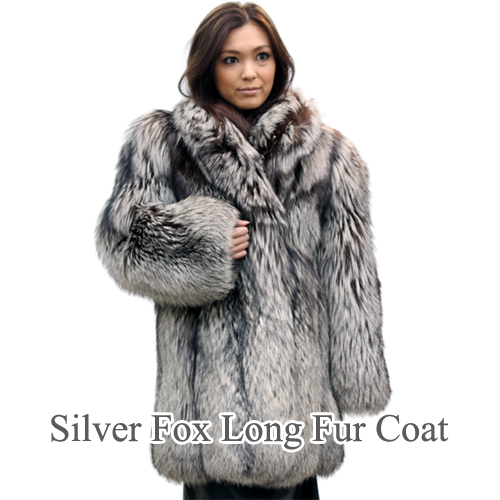 レディース 毛皮コート シルバーフォックス ロング ファーコート 1060 婦人毛皮 ロングコート