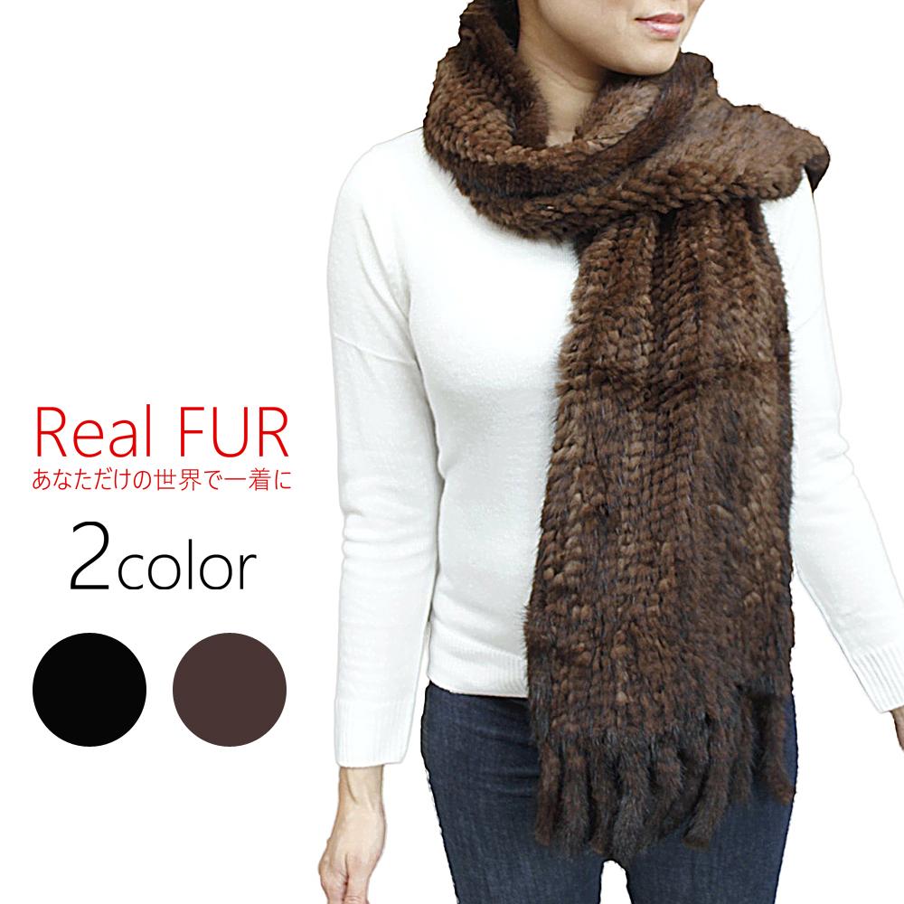 レディース 毛皮アイテム ミンク 編み込みファーマフラー 8841-1 婦人毛皮 ミンクマフラー ファーアイテム 毛皮マフラー