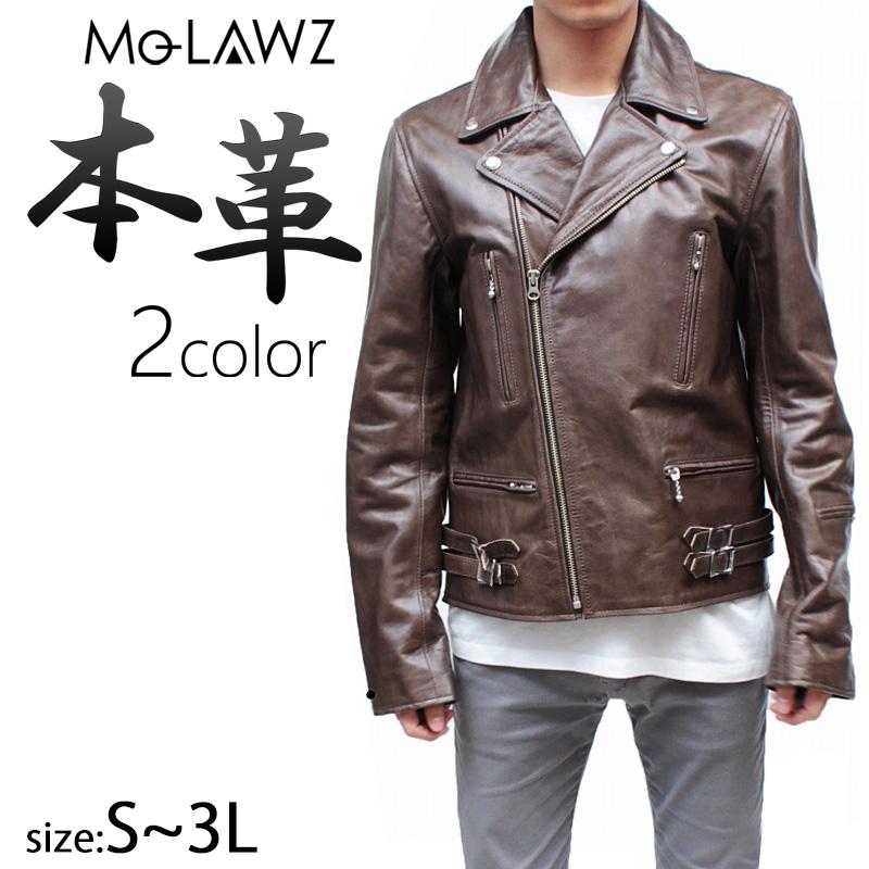 ダブルライダースジャケット 本革 メンズ レザージャケット 本革ジャケット 革ジャン バッファロー UK M/L/LL/3L 黒 ブラウン ブラック mlrj006 mo-laws モローズ
