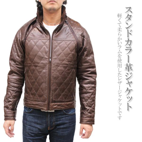 中綿ジャケット 本皮 中綿ベスト レザージャケット 本革ジャケット スタンドカラー M/L/LL ダークブラウン 7777