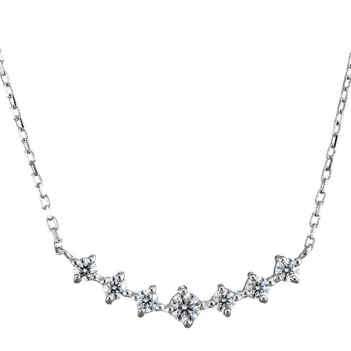 【kawasumi】PTダイヤモンドプチネックレス プラチナダイヤモンドプチネックレス ハート&キューピット 優美な曲線