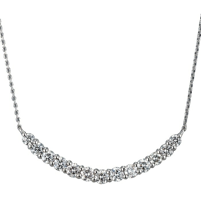 【kawasumi】PTダイヤモンドプチネックレス プラチナダイヤモンドプチネックレス なだらかなU字形 曲線美 デコルテ