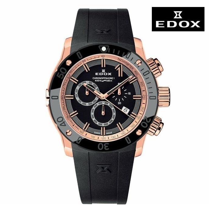 EDOX エドックス 10221-37R-NIR 電池式クオーツ メンズ 腕時計 ウォッチ 時計 ピンクゴールド色 ラバーストラップ 正規輸入品 メーカー保証付 誕生日プレゼント 男性 ギフト ブランド かっこいい もてる 送料無料