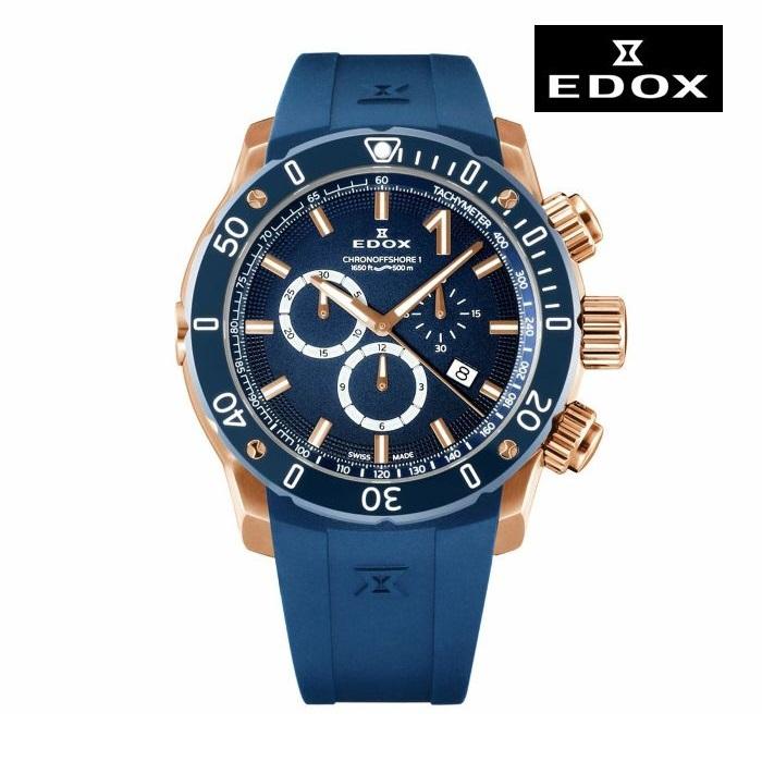 EDOX エドックス 10221-37RBU3-BUIR3 電池式クオーツ メンズ 腕時計 ウォッチ 時計 ゴールド色 ラバーストラップ 正規輸入品 メーカー保証付 誕生日プレゼント 男性 ギフト ブランド かっこいい もてる 送料無料