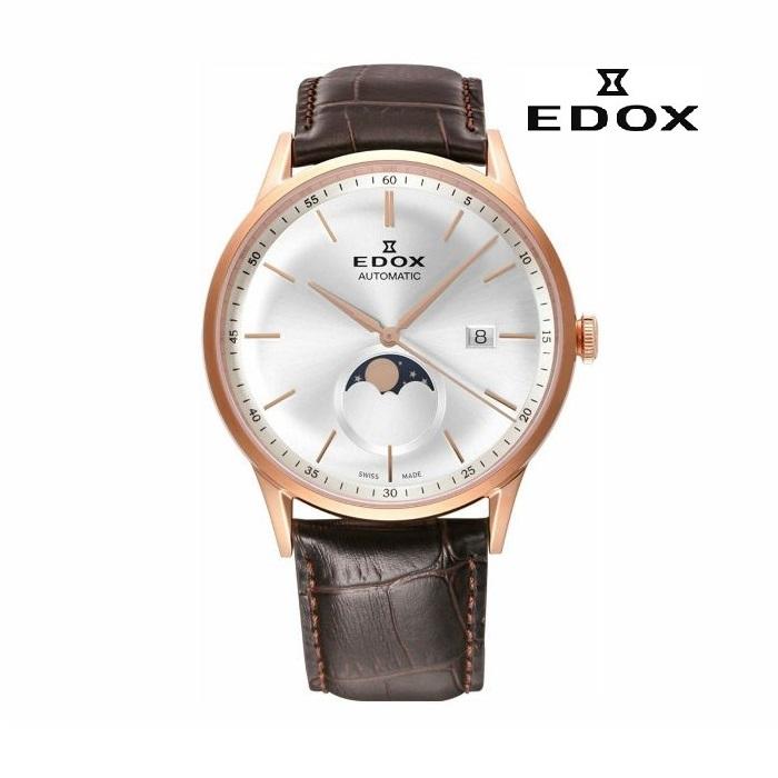 EDOX エドックス 80500-37R-AIR メカニカル 自動巻き メンズ 腕時計 ウォッチ 時計 ゴールド色 レザーストラップ 正規輸入品 メーカー保証付 誕生日プレゼント 男性 ギフト ブランド かっこいい もてる 送料無料