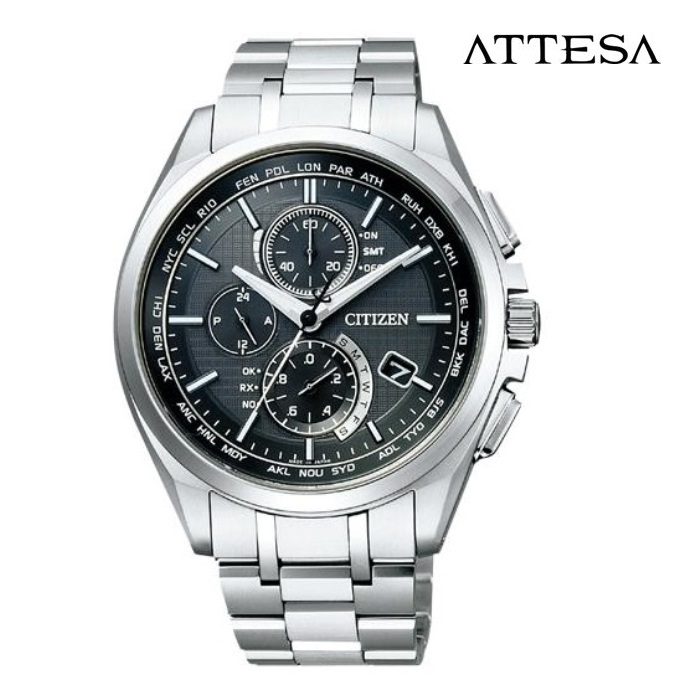 CITIZEN シチズン アテッサ ATTESA AT8040-57E エコ・ドライブ電波 メンズ 腕時計 ウォッチ 時計 シルバー色 金属ベルト 国内正規品 メーカー保証付 誕生日プレゼント 男性 ギフト ブランド かっこいい もてる 送料無料