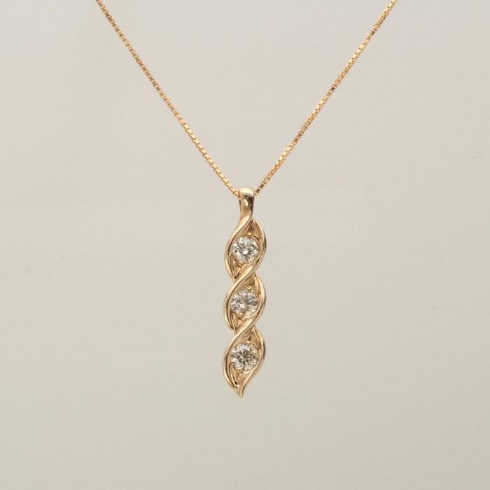 【kawasumi】 K18 PG ダイヤプチネックレス スリーストーン ダイヤモンド 記念日 誕生日 プレゼント お値打ち お出かけ ジュエリー 川スミ 送料無料