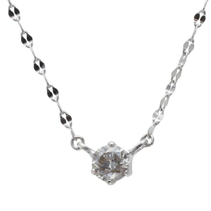 K10WGダイヤプチネックレス ペタルチェーン K10WGダイヤモンドプチネックレス 奉呈 10金ホワイトゴールド シンプル 新品未使用正規品