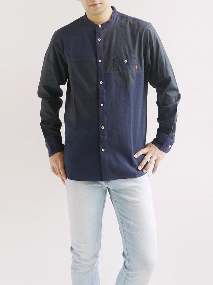 河谷シャツ Vermeer (フェルメール) カジュアル 長袖シャツ / k1941101 / 全2色 ネイビー ホワイト 全5サイズ S M L XL XXL シャツ 長袖 メンズ レディース 大きいサイズ / アート スタンドカラー 立ち襟 アート 芸術 カジュアルシャツ  ワイシャツ ドレスシャツ おしゃれ