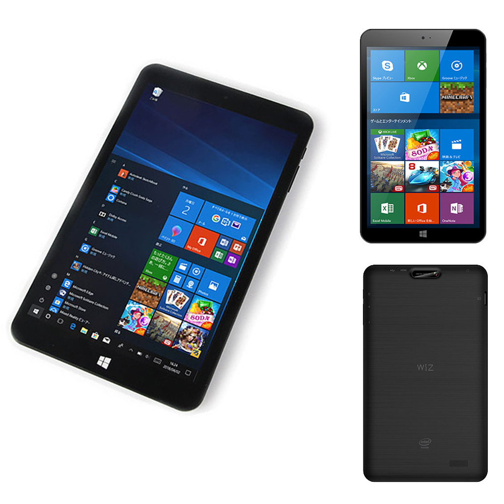 Windows10Home搭載タブレットPC 8インチ WiZ KEIAN 恵安 クアッドコアCPU RAM2GB eMMC32GB 無線LAN Bluetooth4.0 ブラック KI8-BK ◆宅