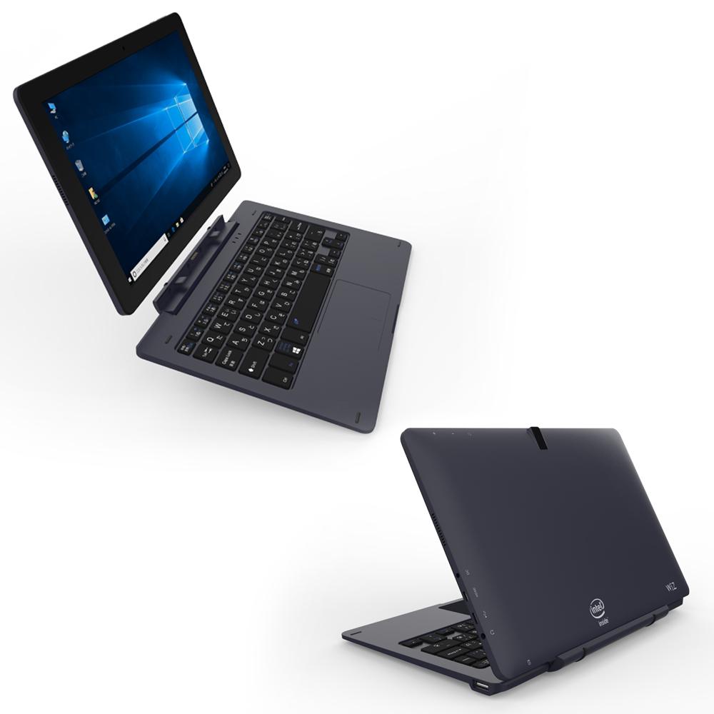 2in1タブレットPC 10.1インチ 高解像度 Windows10Home搭載 WiZ KEIAN 恵安 クアッドコアCPU RAM4GB eMMC64GB 専用キーボード付属 ダークネイビー KIC104HD-DN ◆宅