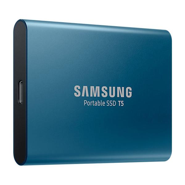 250GB ポータブルSSD 外付けSSD サムスン Samsung Portable SSD T5 R:540MB/s USB3.1 Gen2 Type-C 軽量51g 10.5mm厚 ブルー MU-PA250B/WW ◆宅