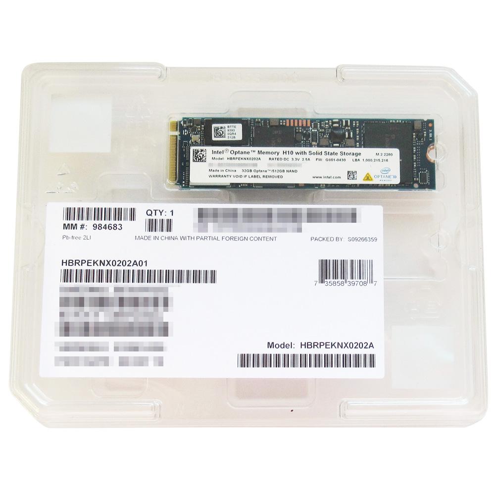 512GB SSD + 32GB Optane Memory Intel インテル H10 内蔵型 M.2 PCIe3.0 x4 NVMe 2280 3D QLC 3D XPoint採用 R:2300MB/s W:1300MB/s バルク HBRPEKNX0202A01 ◆メ