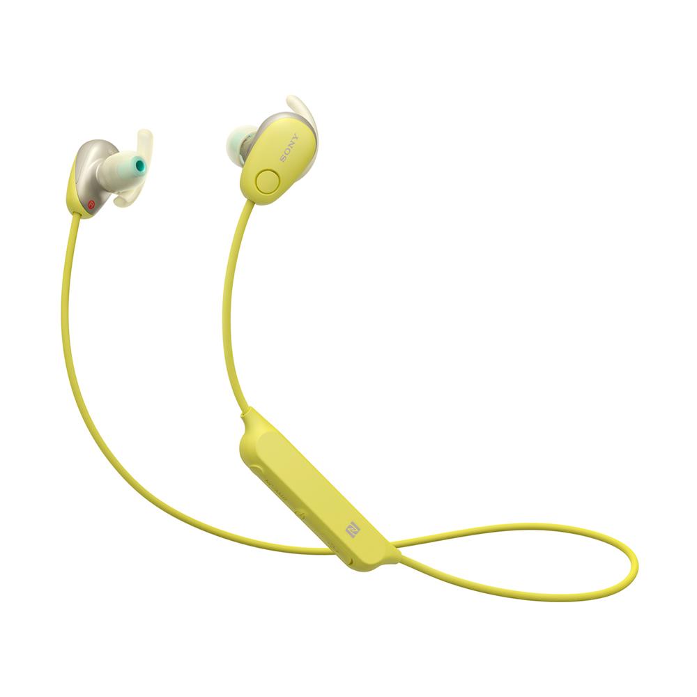 Bluetoothイヤホン ワイヤレスステレオヘッドセット SONY ソニー カナル型 防滴IPX4相当 ノイズキャンセリング機能 イエロー WI-SP600N(Y) ◆宅