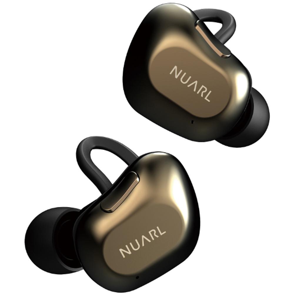 完全ワイヤレスイヤホン Bluetoothイヤホン NUARL ヌアール 連続再生10h 最大35h(バッテリーケース併用) HDSS搭載 IPX4耐水性能 ブラックゴールド NT01AX-BG ◆宅