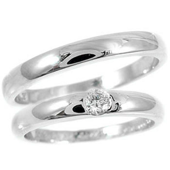 [送料無料]結婚指輪 マリッジリング ペアリング ウェディングリング ウェディングバンド 記念リング プラチナリング 2本セット ダイヤ ダイヤモンド ソリティア PT900 【コンビニ受取対応商品】