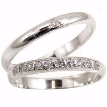 ペアリング エタニティリング 結婚指輪 ダイヤモンド プラチナリング 2本セット ソリティア 甲丸【コンビニ受取対応商品】 指輪 大きいサイズ対応 送料無料