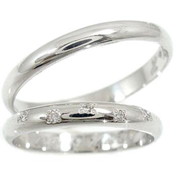 [送料無料]ペアリング プラチナ900ダイヤ ダイヤモンド 結婚指輪 マリッジリング ハンドメイド 2本セット甲丸【コンビニ受取対応商品】