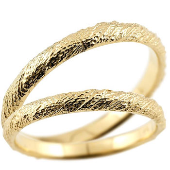 [送料無料]結婚指輪 マリッジリング ペアリング イエローゴールドk18 ハンドメイド 18金 2.5ミリ幅 ブライダルジュエリー 2本セット アンティーク【コンビニ受取対応商品】
