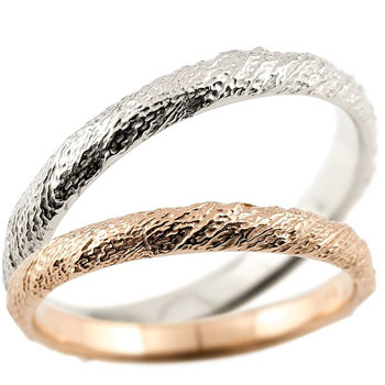 [送料無料]結婚指輪 マリッジリング ペアリング ホワイトゴールドk18 k18wg ピンクゴールドk18 ハンドメイド 18金 2.5ミリ幅 ブライダルジュエリー 2本セット アンティーク【コンビニ受取対応商品】