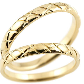 [送料無料]結婚指輪 マリッジリング ペアリング イエローゴールドk18 18金 2.5ミリ幅 ブライダルジュエリー 2本セット アンティーク【コンビニ受取対応商品】