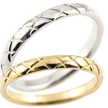 結婚指輪 マリッジリング ペアリング プラチナ pt900 イエローゴールドk18 18金 ハンドメイド 2.5ミリ幅 ブライダルジュエリー 2本セット アンティーク【コンビニ受取対応商品】 指輪 大きいサイズ対応 送料無料