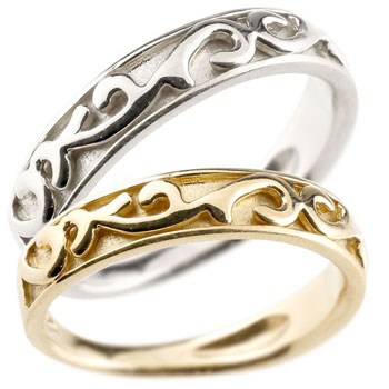 ペアリング 結婚指輪 マリッジリング イエローゴールドk18 プラチナ ハンドメイド アラベスク 宝石無し ホーニング つや消し 地金リング 2本セット 指輪 大きいサイズ対応 送料無料