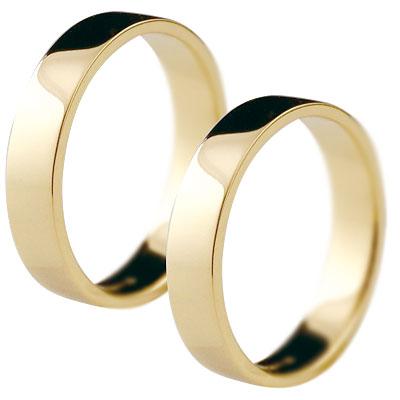 【2人の大切な想いを形に】 ペアリング 結婚指輪 マリッジリング イエローゴールドk18 記念リング k18 18金 リング 結婚式 平角 4mm幅 幅広 地金リング 宝石なし 2本セット【コンビニ受取対応商品】 クリスマス 指輪 大きいサイズ対応 送料無料