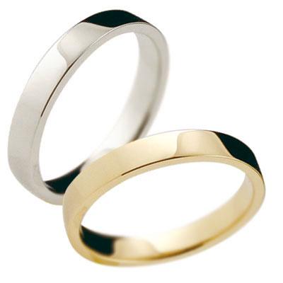 ペアリング 結婚指輪 マリッジリング イエローゴールドk18 プラチナ 記念リング k18 18金 PT900 リング 結婚式 平角 3mm幅 地金リング 宝石なし 2本セット【コンビニ受取対応商品】 指輪 大きいサイズ対応 送料無料