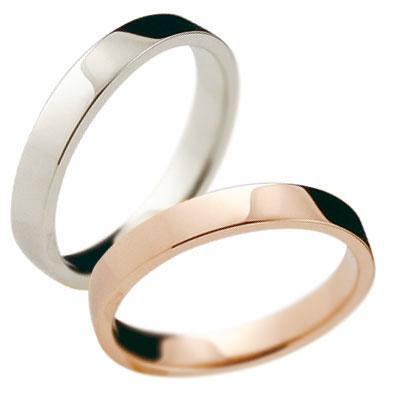 ペアリング 結婚指輪 マリッジリング ピンクゴールドk18 ホワイトゴールドk18 記念リング k18 18金 リング 結婚式 平角 3mm幅 地金リング 宝石なし 2本セット【コンビニ受取対応商品】 指輪 大きいサイズ対応 送料無料
