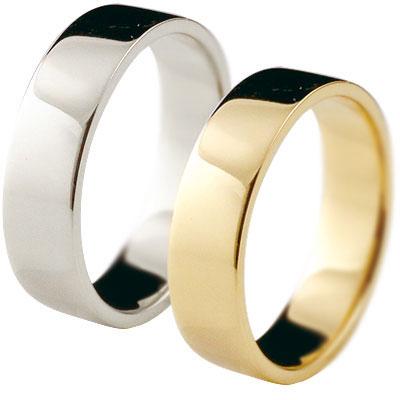 ペアリング 結婚指輪 マリッジリング イエローゴールドk18 プラチナ 記念リング k18 18金 PT900 リング 結婚式 平角 5mm幅 幅広 地金リング 宝石なし 2本セット【コンビニ受取対応商品】 指輪 大きいサイズ対応 送料無料