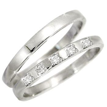 【2人の永遠の誓いをリングに託して】   ペアリング ダイヤ ダイヤモンド ホワイトゴールドk18結婚指輪 マリッジリング k18wg結婚記念リング 2本セット18k 18金【コンビニ受取対応商品】 指輪 大きいサイズ対応 送料無料