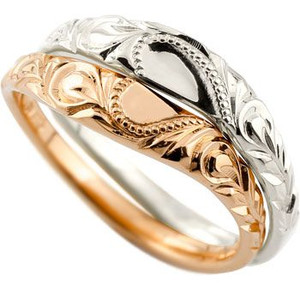 結婚指輪 ハワイアン マリッジリング ペアリング ホワイトゴールドk18 ピンクゴールドk18 結婚記念リング 2本セット ミル打ち 合わせるとハート ハート ハワジュ hawaii 18k 18金 ハワイアンブライダルジュエリー 指輪 送料無料