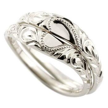 ハワイアンジュエリー 結婚指輪 ハワイアンペアリング シルバー925 結婚記念リング 2本セット ミル打ち 合わせるとハート ハート ハワジュ hawaiiブライダルジュエリー【コンビニ受取対応商品】 指輪 大きいサイズ対応 送料無料