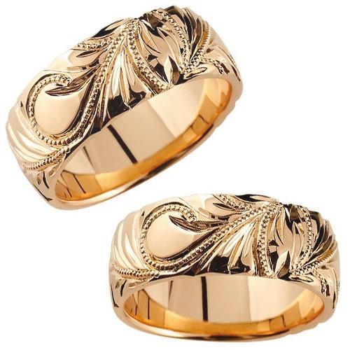 【永遠に途切れることのない愛 2人の想いいつまでも】  ハワイアンジュエリー ハワイアンペアリング 結婚指輪 ハワイアン マリッジリング ピンクゴールドk18 18金 幅広 指輪 結婚記念 ブライダルリング ウェディングリング ウェディングバンド 結婚式 ミル打ち ハワジュ hawaii クリスマス 指輪 送料無料