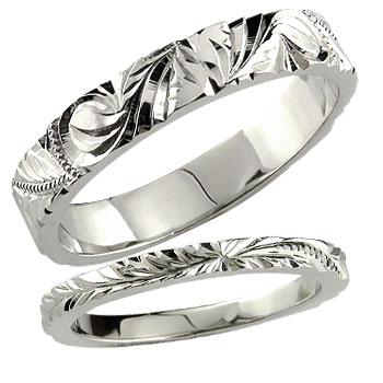 [送料無料ハワイアンジュエリー 結婚指輪 マリッジリング ハワイアンペアリング ホワイトゴールドk18 結婚記念リング 2本セット ミル打ち ハワジュ hawaii 18k 18金ブライダルジュエリー 【コンビニ受取対応商品】 指輪 大きいサイズ対応