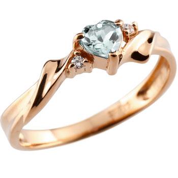 ハート リング アクアマリン ダイヤモンド 指輪 ピンクゴールドk18 18金 3月誕生石 レディース【コンビニ受取対応商品】 大きいサイズ対応 送料無料