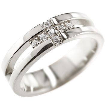 クロス ピンキーリング ホワイトゴールドk18 ダイヤモンド 幅広 ダイヤモンドリング 指輪 ピンキーリング 婚約指輪 エンゲージリング 十字架 リング メンズ レディース18k 18金【】【コンビニ受取対応商品】 大きいサイズ対応 送料無料
