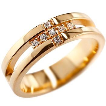 クロス リング ダイヤモンド ダイヤ 幅広 指輪 ピンキーリング ピンクゴールドk18 K18 婚約指輪 エンゲージリング リング ダイヤモンドリング メンズ レディース18k 18金【コンビニ受取対応商品】 大きいサイズ対応 送料無料