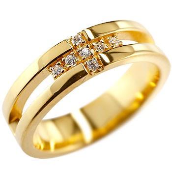 婚約指輪 エンゲージリング クロス リング ダイヤモンド ダイヤ 幅広 指輪 ピンキーリング イエローゴールドk18 K18 リング ダイヤモンドリング レディース18k 18金【コンビニ受取対応商品】 大きいサイズ対応 送料無料