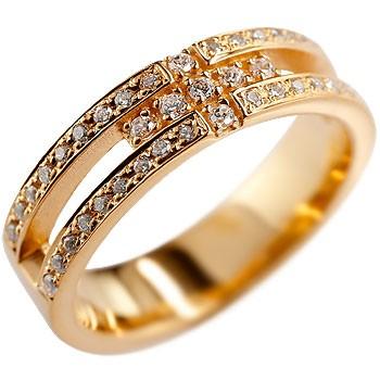 [送料無料]婚約指輪 エンゲージリング クロス リング ダイヤモンド ダイヤ 幅広 指輪 ピンキーリング ピンクゴールドk18 レディース18k 18金【コンビニ受取対応商品】