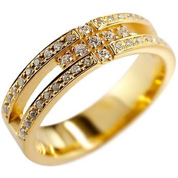 [送料無料]婚約指輪 エンゲージリング クロス リング ダイヤモンド ダイヤ 幅広 指輪 ピンキーリング イエローゴールドk18 レディース18k 18金【コンビニ受取対応商品】
