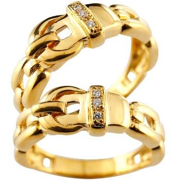 ペアリング 結婚指輪 マリッジリング ダイヤモンド ダイヤ イエローゴールドk18 ベルト バックル デザイン 2本セット18k 18金【コンビニ受取対応商品】 指輪 大きいサイズ対応 送料無料
