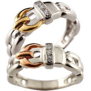 ペアリング 結婚指輪 マリッジリング プラチナ ピンクゴールドk18 イエローゴールドk18 コンビ ダイヤモンド ダイヤ ベルト バックル デザイン 2本セット18k 18金【コンビニ受取対応商品】 指輪 大きいサイズ対応 送料無料