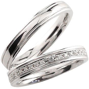 結婚指輪 マリッジリング ペアリング 指輪 ダイヤモンド プラチナ900 ハーフエタニティー ハンドメイド 結婚記念リング 2本セット メンズ レディース 名入れ【コンビニ受取対応商品】 指輪 大きいサイズ対応 送料無料